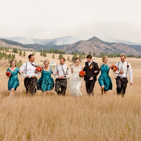 Orange and Teal Wedding Party but with red, not orange.: Wedding Parties, Turquoise Wedding, Wedding Orange, Color Ideas, Bridesmaid And Groomsmen, Teal Weddings, Parties Color, Mountain Wedding, Groomsmen Outfit