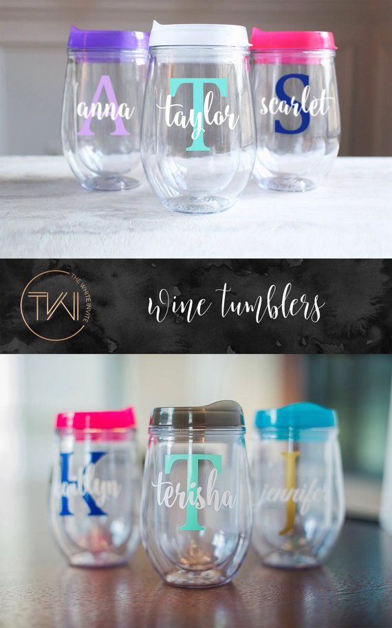 Bridesmaid Gift  Bridesmaid Tumbler  by TheWhiteInviteGifts  Bridesmaid Gift - These stemless wine glasses personalized with the name of your choice are a unique wedding favor keepsake to your bridesmaids & maid of honor or gift to a friend. This Bev2Go personalized wine glass tumbler is a stylish way of giving a gift or simply saying thank you to someone you love.