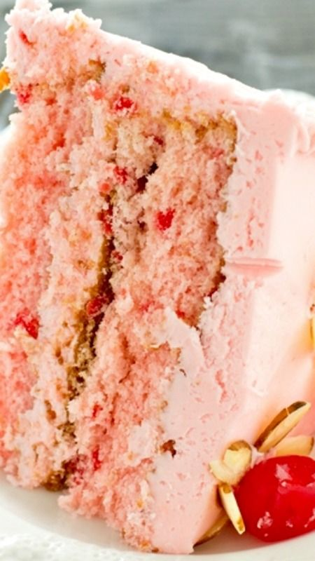 Cherry Almond Cake ~ Light, airy from-scratch maraschino cherry cakes with pink almond and cherry flavored buttercream.