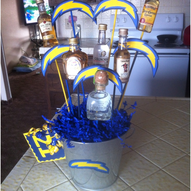 San Diego Chargers themed 'Man Flowers' Made this for the Hubby's 21st B-Day ;)
