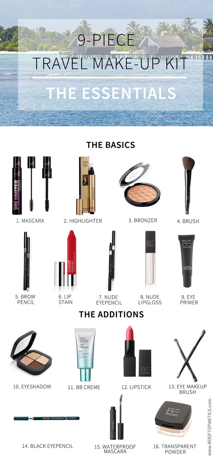 Essential travel make-up kit. Create  several looks with only 9 basic products.