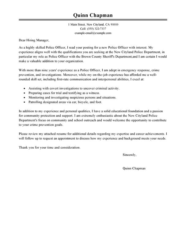 cover letter template law enforcement    cover