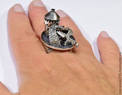 """Кольца ручной работы. """"Дракон, живущий под мостом""""кольцо в стиле ФЕНТЕЗИ с…"""