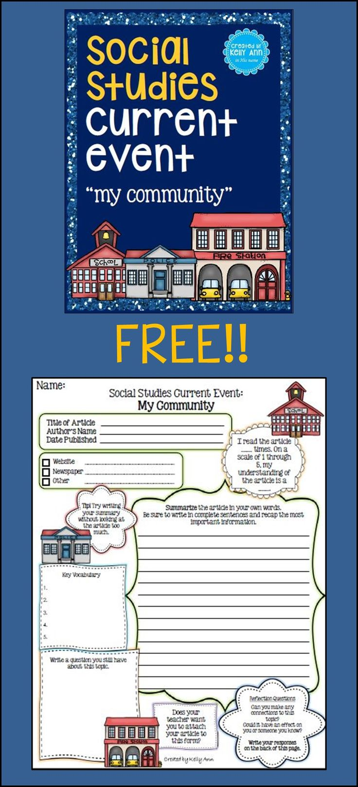 "FREE: Social Studies Current Event - My Community...Follow for FREE ""too-neat-not-to-keep"" teaching tools & other fun stuff :)"