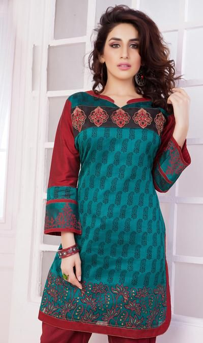 USD 36.87 Blue Cotton Silk Formal Kurti 31561