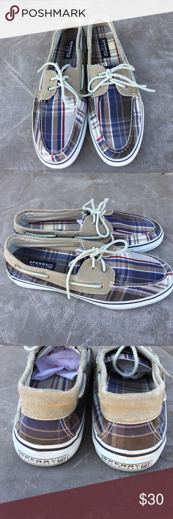 Men's Plaid Sperry Top Siders Size 12M These shoes are in great condition. The shoes pictured are the ones I'm selling. Really nice. No flaws. Sperry Top-Sider Shoes Boat Shoes