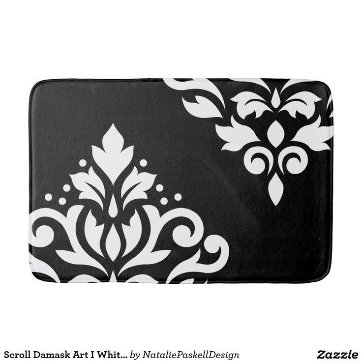 Scroll Damask Art I White on Black Bath Mat - monochrome, damask, patterns, ornate, decorative, black and white, baroque pattern, design, damasks, pattern