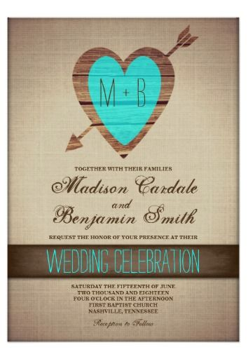 Rustic Teal Heart Arrow Country Wedding Invitations. Brown and Turquoise colors.  40% OFF when you order 100+ Invites.  #wedding #turquoise