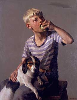 Robert Brackman,     'A Boy and His Dog'  32 x 26 inches  oil on canvas