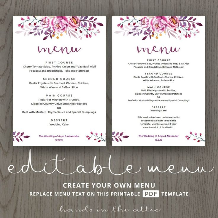68 Best Wedding Menu Cards Images On Pinterest