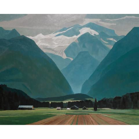 """Lot 179 ALAN CASWELL COLLIER, O.S.A., R.C.A. FARMS IN THE VALLEY (AT MEADOW CREEK B.C.), 1989 oil on canvas signed height 47.2"""" x width 59.1"""" height 120.0 cm x width 150.0 cm Est. $15000/20000 Realised: $28320 Auction Date: 11/25/2011 Provenance: Roberts Gallery, Toronto. Private Collection, Ontario."""