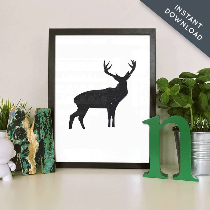 Wall art, printable, black and white, home decor, gift for her, wall decor, art prints, poster, print, nursery decor, deer, gift for him by MandyandCo on Etsy