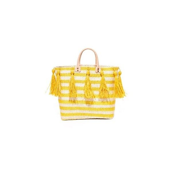 Mar Y Sol Sahara Tote ($140) ❤ liked on Polyvore featuring bags, handbags, tote bags, sunflower, straw handbags, straw purse, yellow handbags, yellow tote bag and striped tote bag
