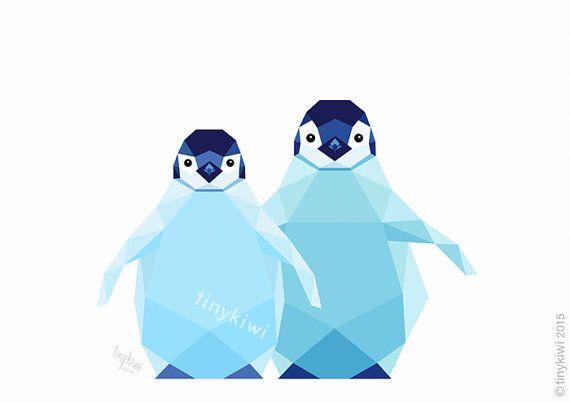 Pinguïn kinderen, geometrische druk, Originele illustratie, animal print, Minimal art, Kunst van de Muur