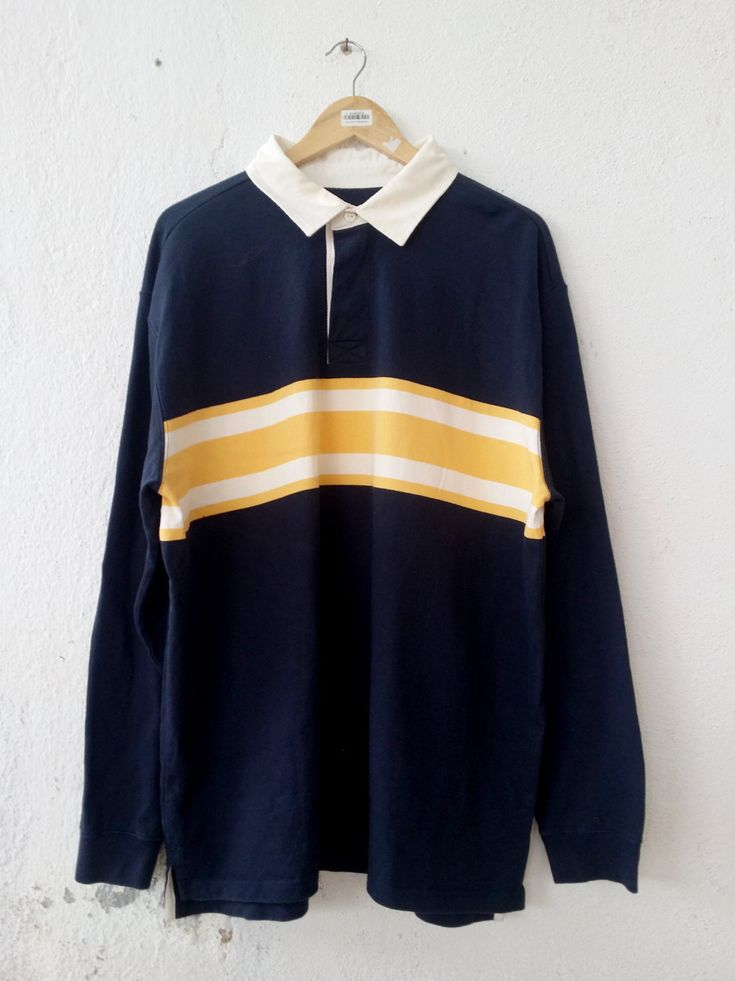 Vintage 90 s LL BEAMS Stripe Casual Wear Polo Shirt Rugby Shirts Swag Hip  Hop Street wear size XL VS73 c4c53a378cf4