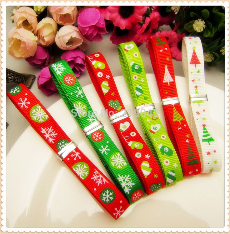 1472048 ,10mm 12 yards 6 color mix Christmas Series printed grosgrain ribbon,Clothing accessories,DIY jewelry wedding package