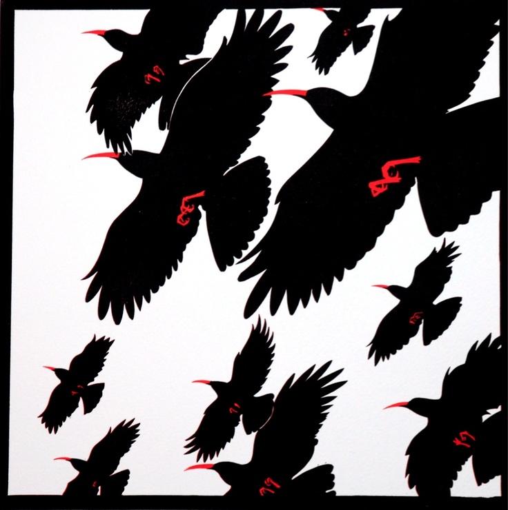 'Choughs' lino print Jeremy James