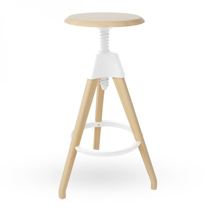 Swivel Stool White Wood High Adjustable Swivel Stool