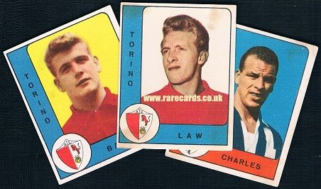 1961 first Panini cards - they WERE cards a long time before they became stickers - of British players Joe Baker, Denis Law and John Charles