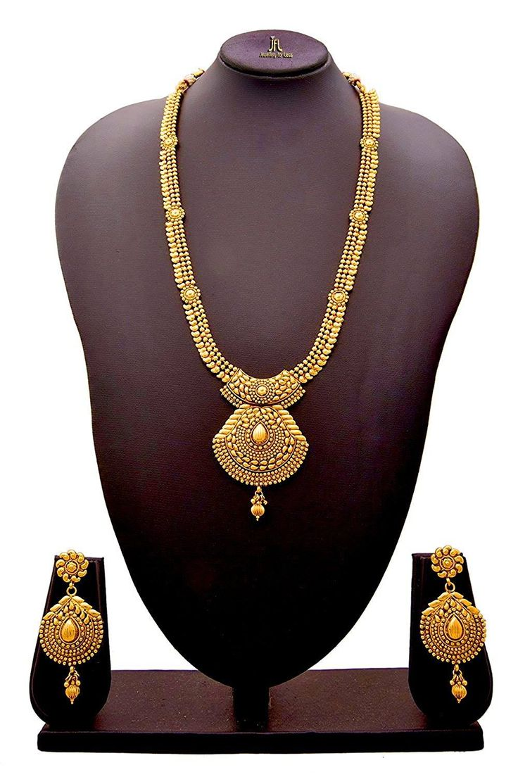 JFL - Traditional Ethnic One Gram Gold Plated Designer Long Necklace / Jewellery Set for Women & Girls. Earring: Ht:7.9 cms, Wd: 3.1 cms, Wt: 11 gms Necklace: Ht: 28.5 cms. Wd: 11.5 cms, W: 59 gms OFFER Price INR 2599/- Original Price 3499/- Product Code: NS-7000557-181-RR Free Shipping n COD in India, International Shipping Available. To Order: Pls. forward your complete postal address with landmark, mobile no. n ur email id on jewelleryforless2222@gmail.com or sms/whatsapp me on…