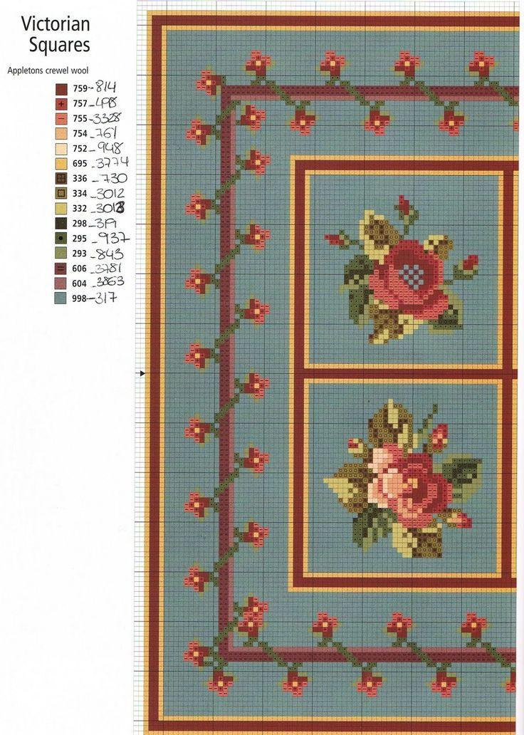 miniature needlework chart (other section of chart here: http://rakelminis.blogspot.com/2011/03/esquemas-para-alfombras-punto-de-cruz.html )