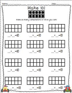 FREEBIE: Make 10 worksheet for addition and decomposing numbers to 10 from Brigids Daily Lesson Log Blog!