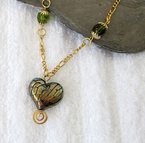 Dichroic Green Heart Pendant Necklace  by #BranchPondJewelry
