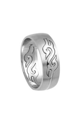 Freestyle Stainless Steel Tribal Curving Ring - 9, Silver Men's Rings