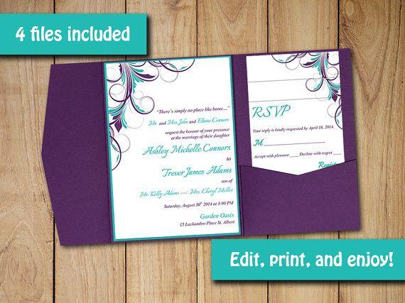 "Pocketfold Wedding Invitation Template Set - Peacock Turquoise Teal Purple ""Ashley"" Flourish 5 x 7 Pocket Fold Invitation RSVP, 2 Insert by PaintTheDayDesigns"