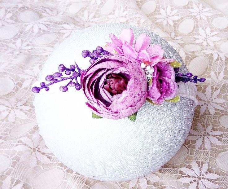 flower headband - Baby headband -  Flower crown - Purple / Pink Floral Cluster Headband