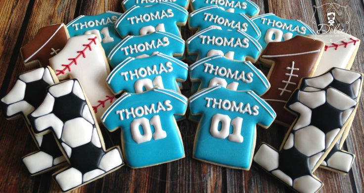 Sports Themed First Birthday Cookies