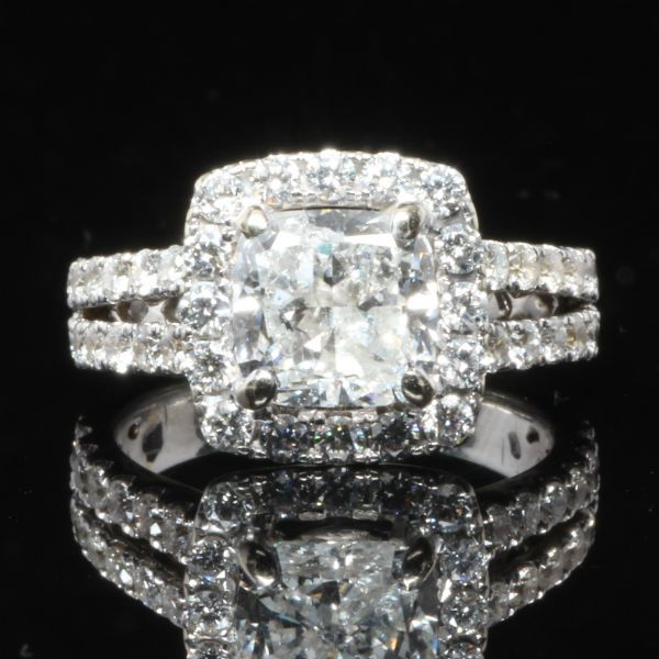 3.46 CTW Cushion Cut Halo Engagement Ring.  Diamond Exchange Dallas has 100's of wholesale engagement rings to choose from. Find out more at http://diamondexchangedallas.com/engagement-rings-dallas