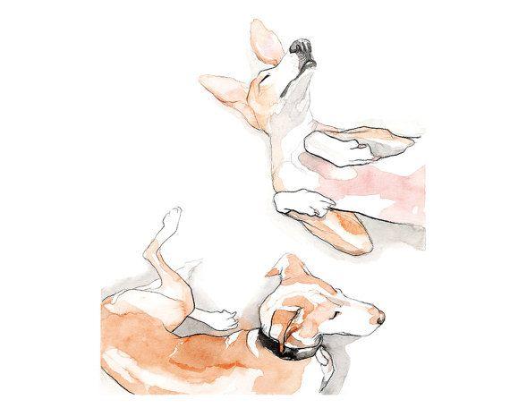Printable wall art painting/ dog portrait/ by WatercolorsByOli