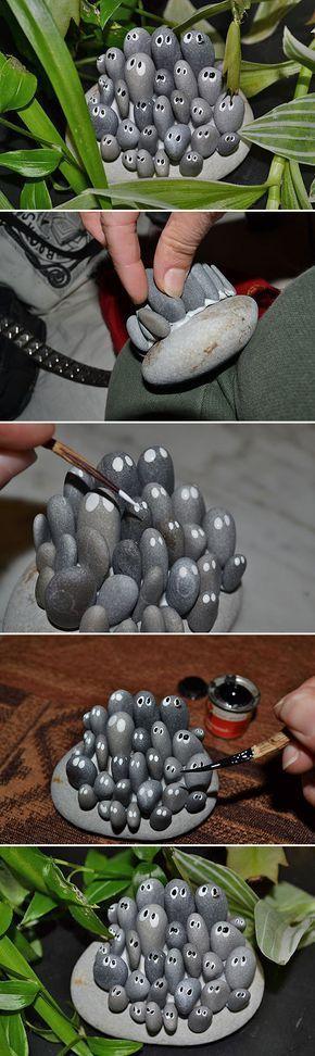 Bricolaje Jardín baratijas • Una redada lleno de grandes ideas y tutoriales! Incluyendo, de 'instructables', estas 'cosas' jardín lindos y adorables hechas con rocas.