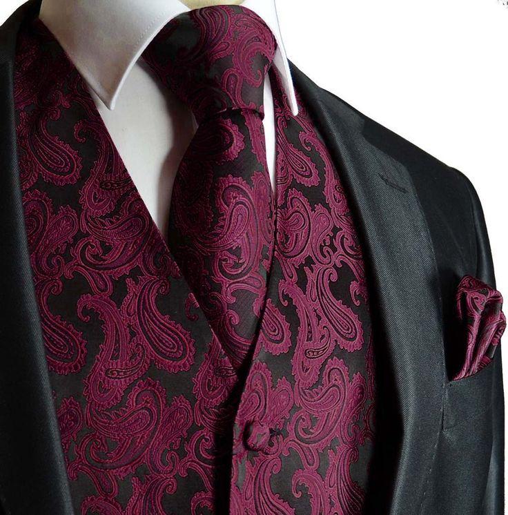 Black and burgundy paisley tuxedo vest set maroon