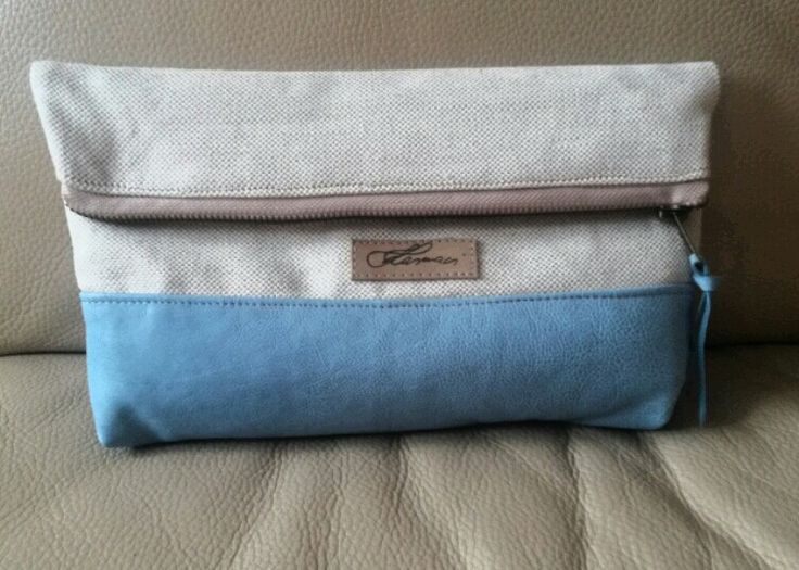 Babyblue Leather+canvas clutch