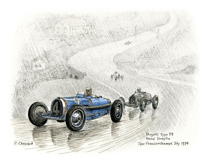 Art from the book: Grand Prix de Belgique – July 29th, 1934. Available as a limited edition.