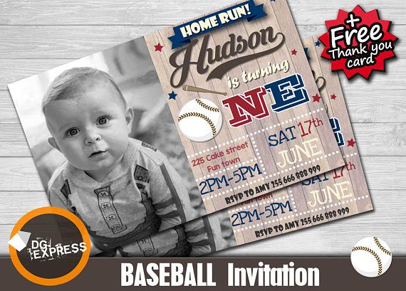 "Baseball Invitation - ""Vintage BASEBALL BIRTHDAY Invitation"" First Birthday Invitation, Baseball Party Invite, Softball Sports Printable"