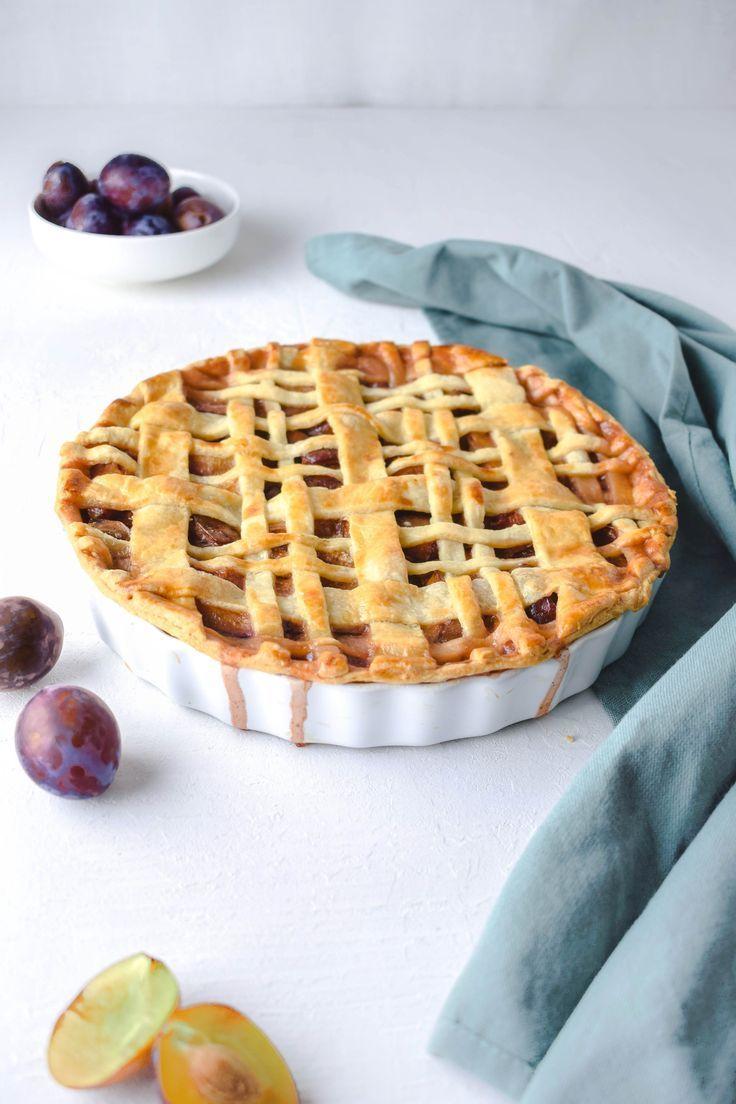 Zwetschgen Pie + selbst gemachte Vanillesauce + eine Prize Zimt