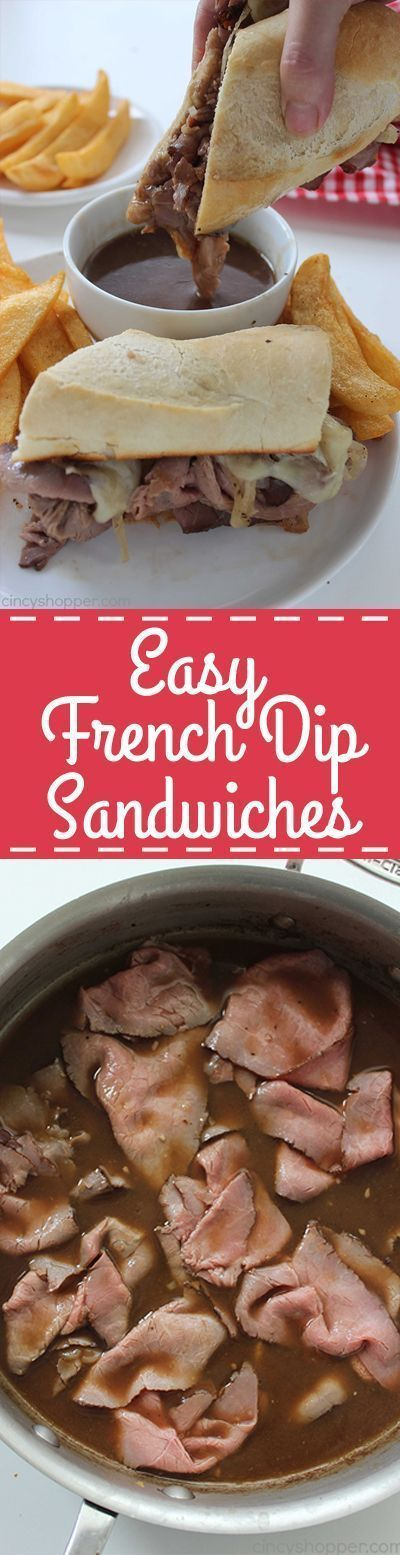 Easy homemade French Dip Sandwiches. A perfect quick family dinner everyone will enjoy. Store bought deli roast beef, cheese, onions, and homemade au jus for dipping. PERFECT!