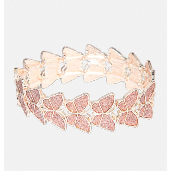 Avenue Glitter Butterfly Stretch Bracelet ($16) ❤ liked on Polyvore featuring jewelry, bracelets, plus size, rose, rose gold bangle, pink gold jewelry, rose jewellery, artificial jewellery and fake rose gold jewelry