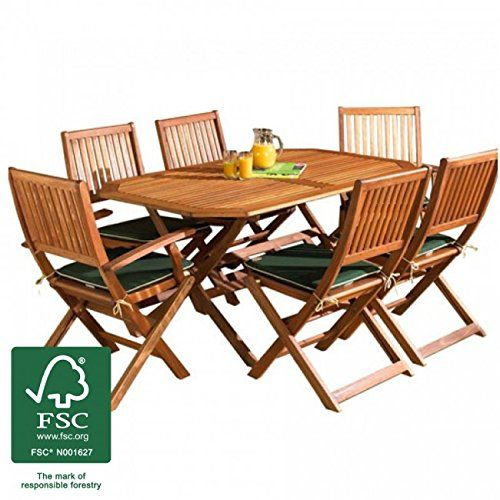 Wooden Garden Furniture Set, 6 Seat Folding Patio Table U0026 Chairs Ideal For  Outdoor Living