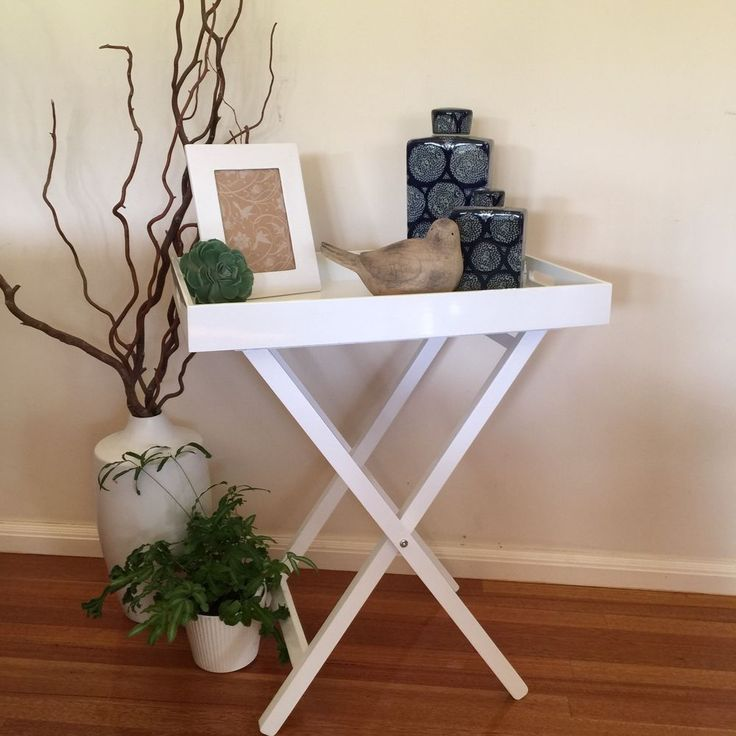 CHIC White Gloss Side Table Butlers Tray/Bedside/Lamp Table/French Provincial