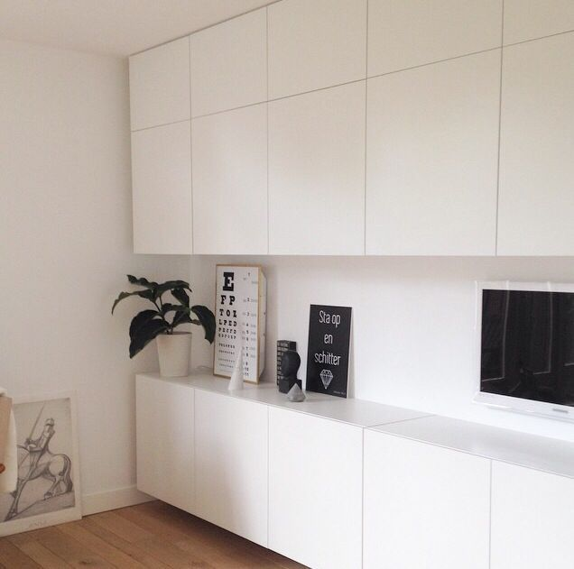 IKEA Besta floor-to-ceiling storage but with tabletop