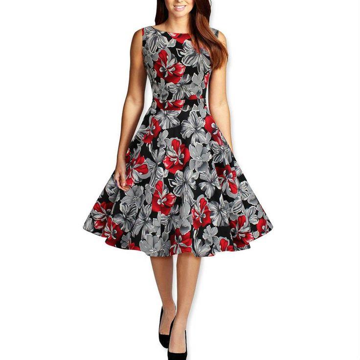 Hepburn style vintage O-neck sleeveless print ball gown dress women prom cocktail casual retro 50s dress Alternative Measures - Brides & Bridesmaids - Wedding, Bridal, Prom, Formal Gown - Alternative Measures