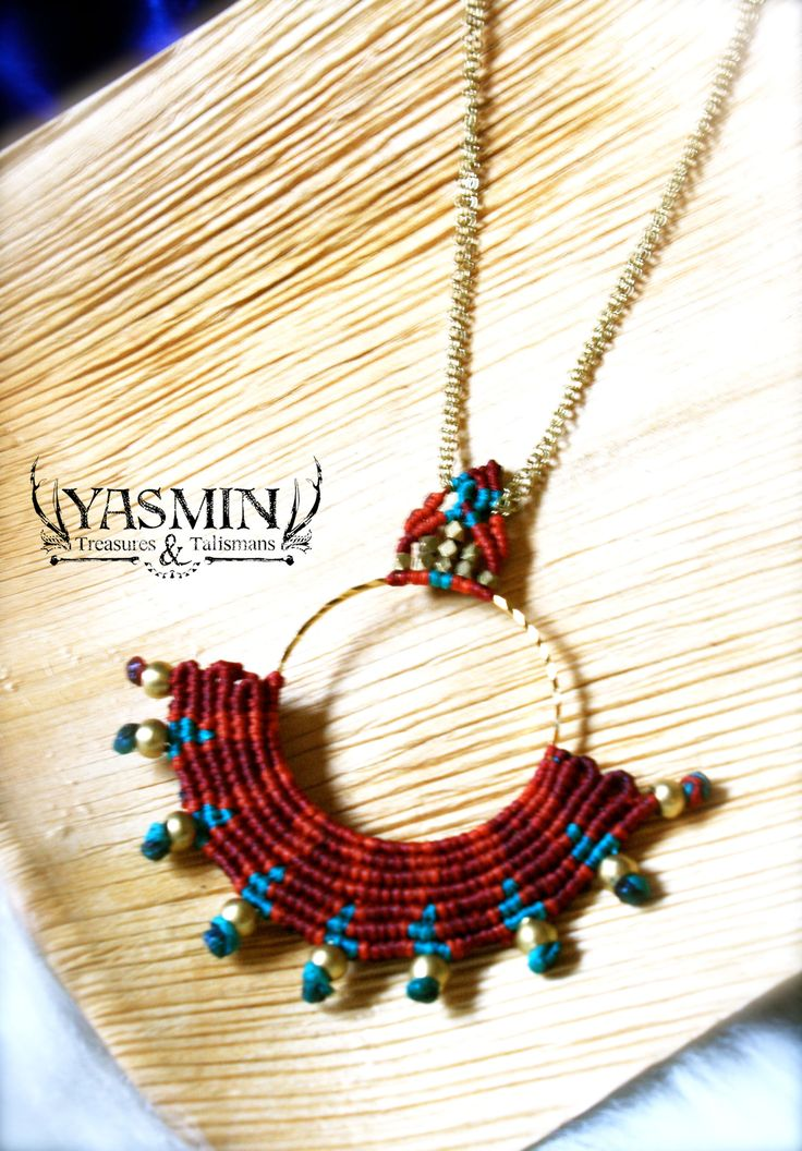 Native sun micro macrame pendant by yasmin