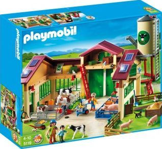 PLAYMOBIL® Barn with Silo, No. 5119 `One size The large tractor passes under the porch, Theme: Country Details : 3 character(s), 1 barn, 1 pigsty, 1 silo with cereals, 4 pig(s), 4 cow(s), 1 milking machine, 4 solar pannels, 1 pulley, 1 electric f http://www.comparestoreprices.co.uk/january-2017-7/playmobil®-barn-with-silo-no-5119-one-size.asp