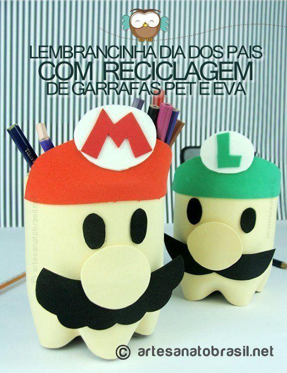 Lembrancinha Dia dos Pais com reciclagem de Garrafa Pet e EVA. Esse Porta lápis/treco fiz para meu maridão, que adora o jogo do Mario! É uma lembrancinha p