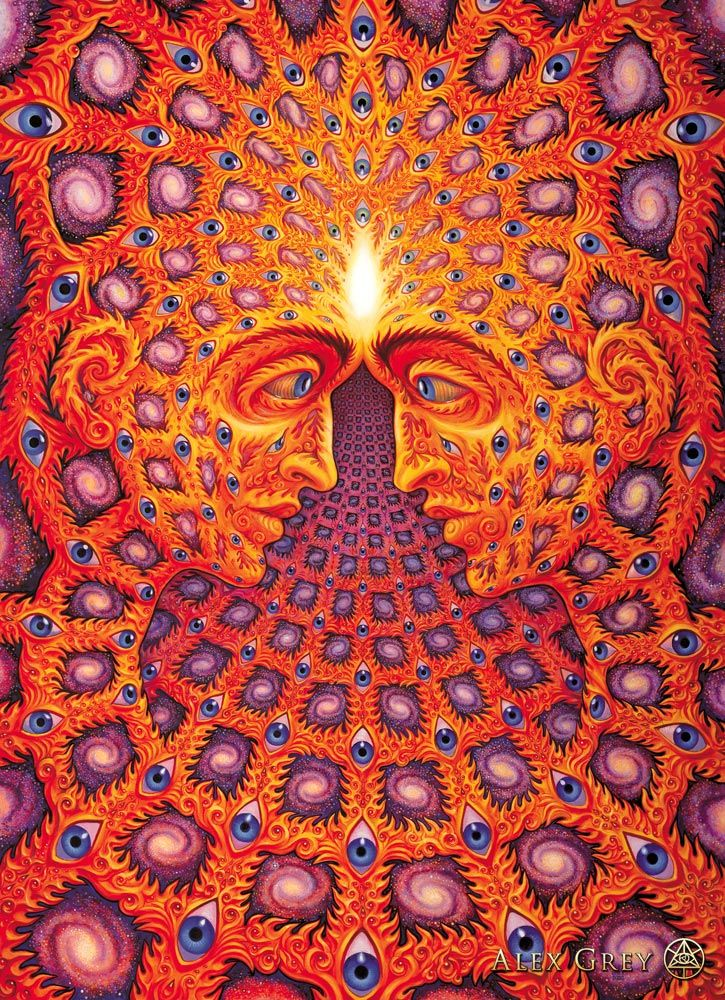 One by Alex Grey (2001)  In the Bright Mirror eyes of the Beloved whose flaming filigree skin is a tapestry of spinning galaxies, we melt and know the ONE is all there is, ever has been and ever will be.