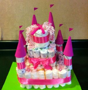 pink princess baby shower diaper cake